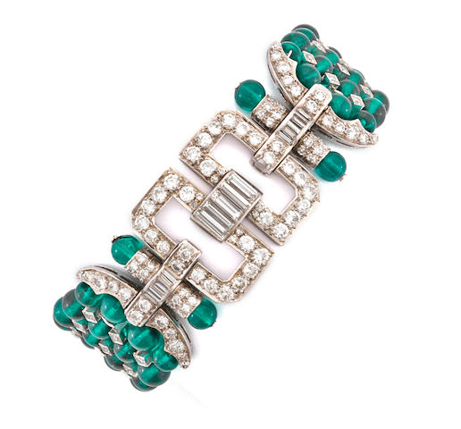 A green glass bead and diamond bracelet