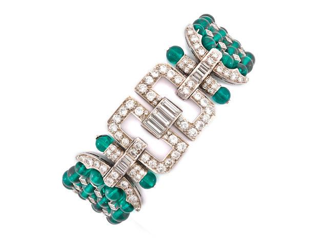 A green glass bead and diamond bracelet