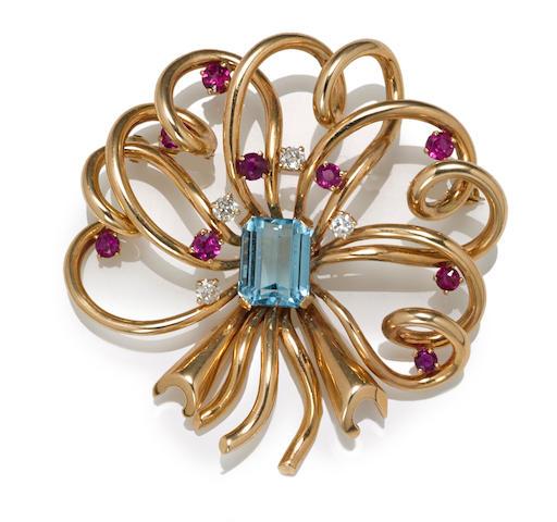 An aquamarine, ruby and diamond brooch