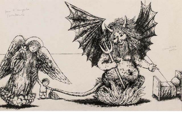 MONTRESOR, BENI. 1926-2001. Daniel with the Angel and the Devil of the Magic Castle,