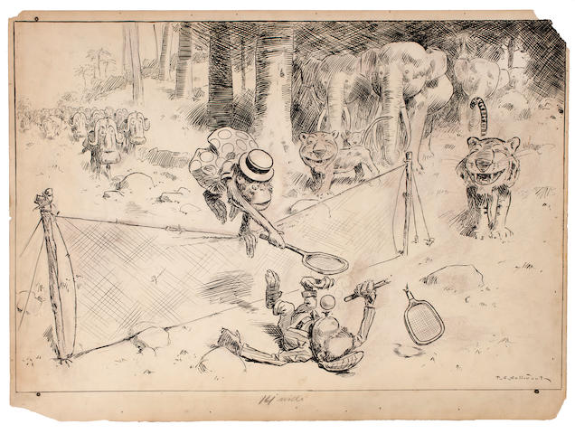 SULLIVANT, THOMAS STARLING. 1854-1926. Chimpanzee tennis match,