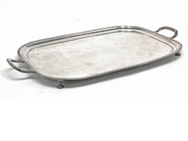 A George V sterling silver rectangular two-handled footed tray by Mappin & Webb, Sheffield, 1930