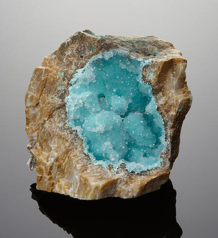 Druzy Chrysocolla Vug in Matrix
