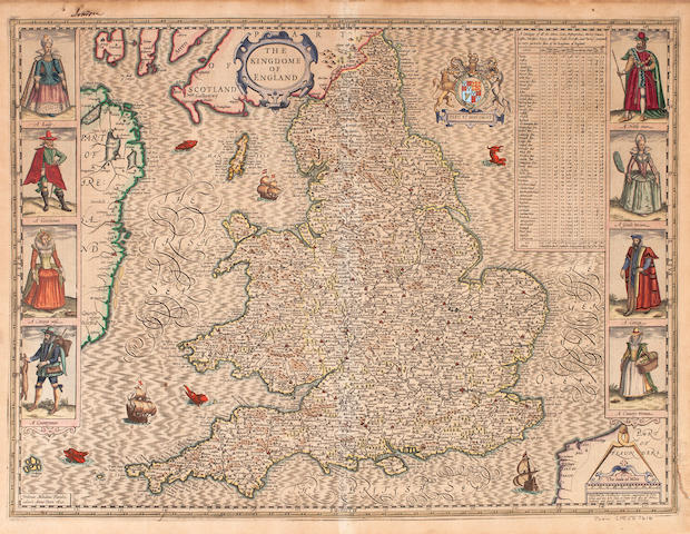 SPEED, JOHN. 1552-1629. The Kingdome of England. London: John Subdury and George Humble, 1610 [but 1626/7].