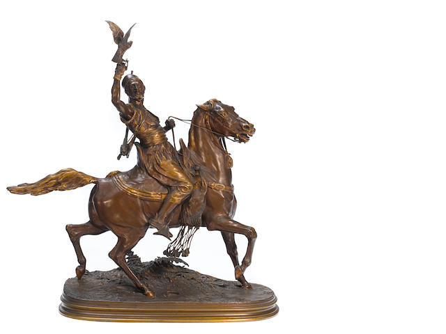 A French patinated bronze equestrian group: Fauconnier Arabe à Cheval  after a model by Pierre-Jules Mêne (French, 1810-1879) F. Barbedienne foundry, Paris late 19th/early 20th century