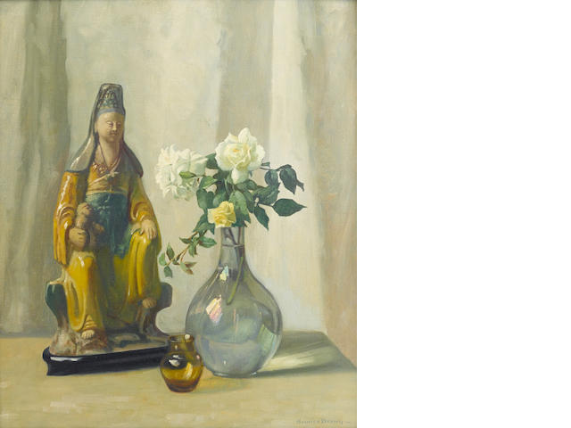 Maurice Braun (American, 1877-1941) Still life with Oriental figurine 24 x 20in