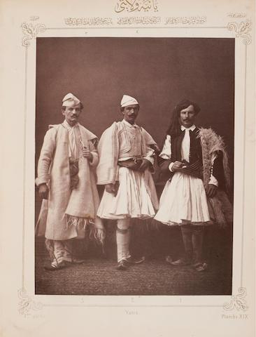 "HAMDI BEY, OSMAN, AND VICTOR MARIE DE LAUNAY. Les Costumes Populaires de la Turquie en 1873. Constantinople: ""Levant Times & Shipping Gazette,"" 1873."