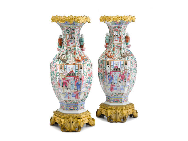 A pair of French gilt bronze mounted Chinese porcelain vases late 19th century