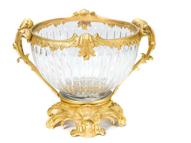 A large gilt bronze mounted cut glass center bowl second half 20th century