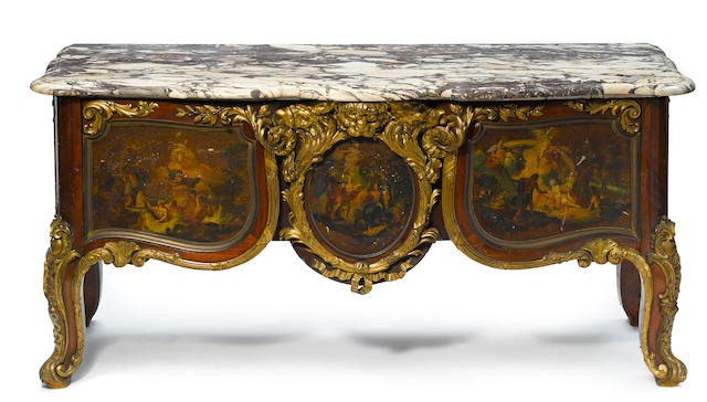 A good and imposing French gilt bronze mounted Vernis Martin decorated mahogany commode circa 1900