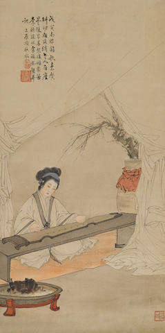 Deng Fen (1894-1964) and Others Beauty Playing a Qin