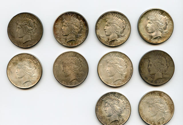Peace Dollars, 1921 (3), 1922, 1923-D (5), and a 1924
