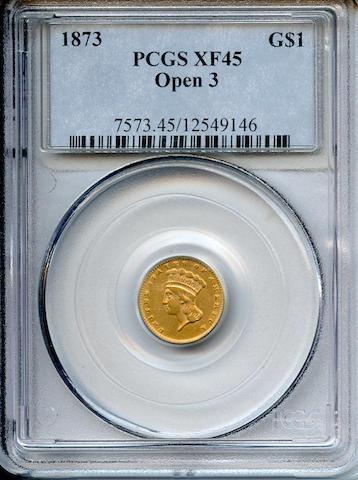 1873 Open 3 G$1 XF45 PCGS