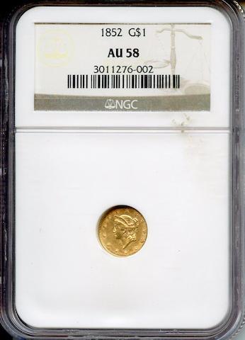 1852 G$1 AU58 NGC