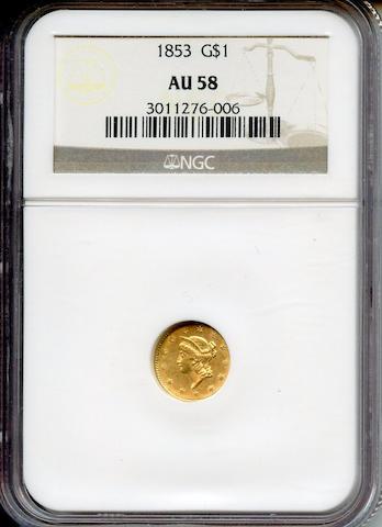 1853 G$1 AU58 NGC