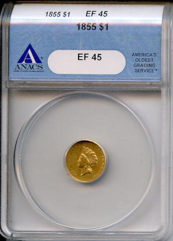 1855 Type Two G$1 XF45 ANACS