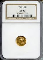 1886 G$1 MS63 NGC