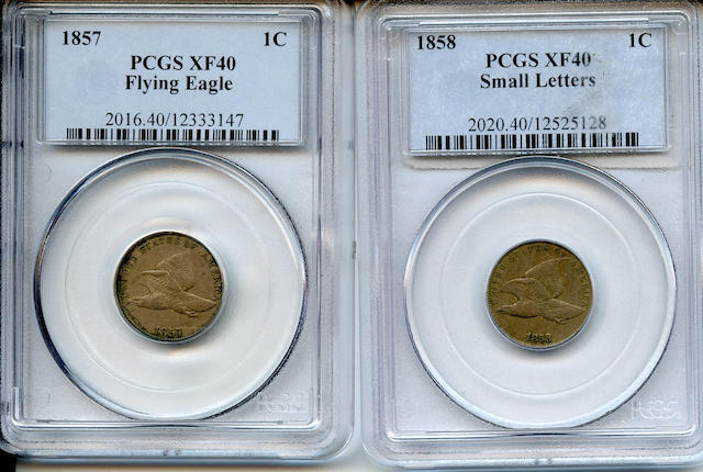 1857 and 1858 Small Letters Flying Eagle 1C XF40 PCGS