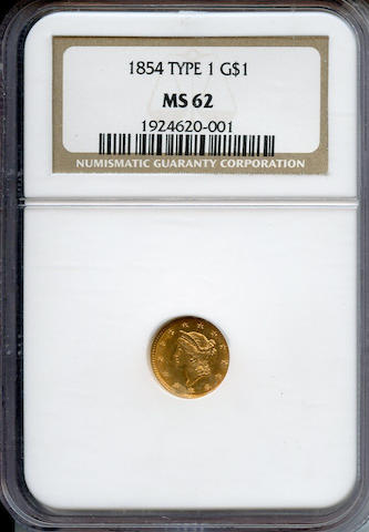 1854 Type One G$1 MS62 NGC