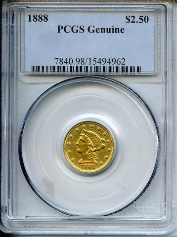 1888 $2.5. Genuine (Code 98, Damage) PCGS