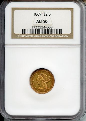 1869 $2.5 AU50 NGC