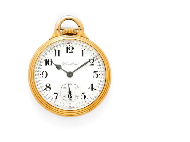 Hamilton. A rare gold filled open face railroad watchModel 960, No.754026