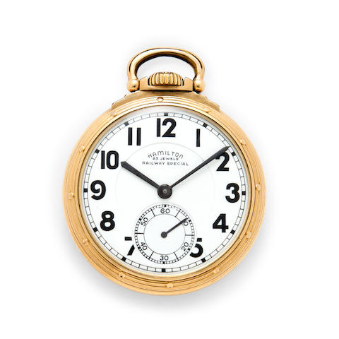 Hamilton. A fine gold filled railroad watchModel 950B, No.S142, Railway Special