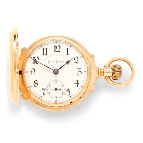 Illinois. A 14K rose gold engraved box hinge hunter cased watchBunn Special,  No.1381688