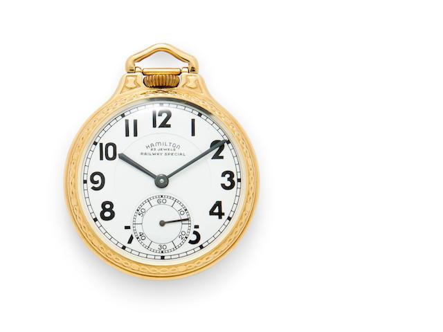 Hamilton. A fine 14K gold railroad watchModel 950B, No.S632, Railway Special