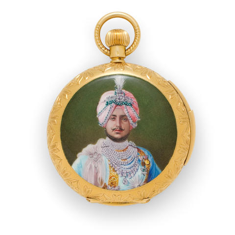 Swiss. A fine 18K gold hunter cased minute repeating watch with portrait enamel of the Maharajah of PatialaCase No.34910, first quarter 20th century
