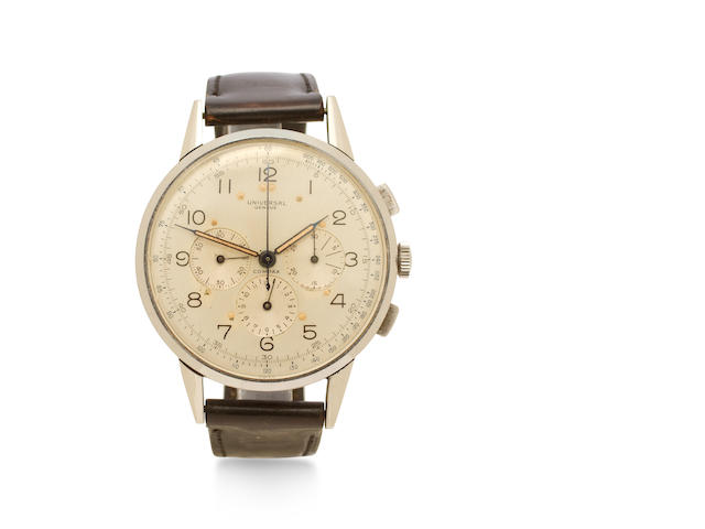 Universal Genève. A fine and rare stainless steel large chronograph wristwatchCompax, Movement No.260367, circa 1945