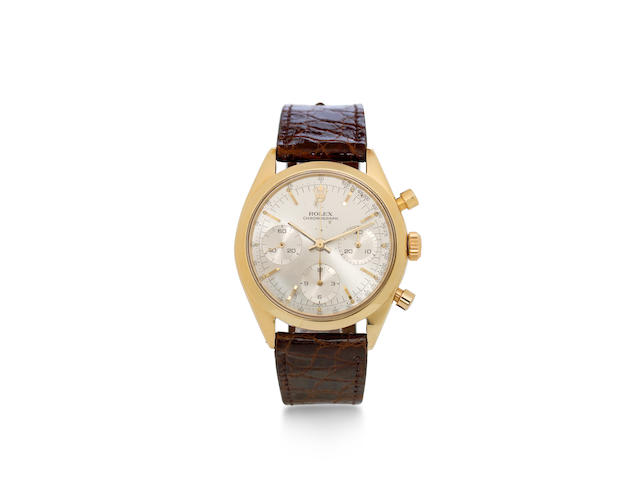 Rolex. A fine and rare 18K gold chronograph wristwatchRef: 6238, Case No.996925, circa 1965