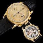 Audemars, Piguet . A rare and very fine 18K gold chronograph wristwatchNo.45598, 1940's