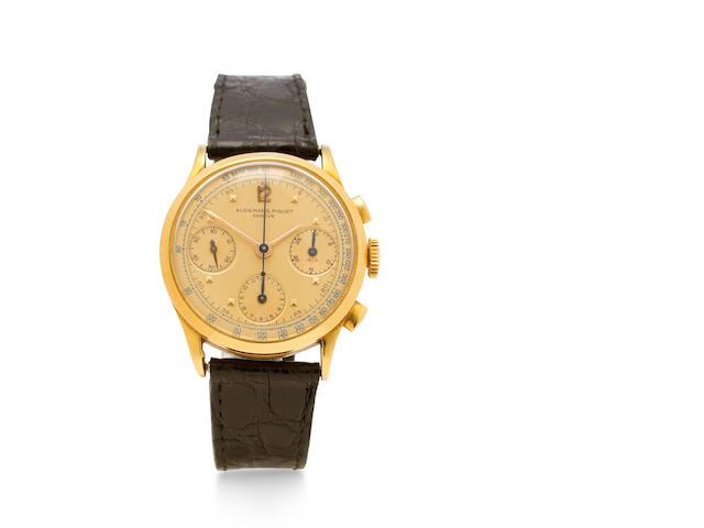 Audemars, Piguet . A rare and very fine 18K gold chronograph wristwatchNo.45598, 1940's
