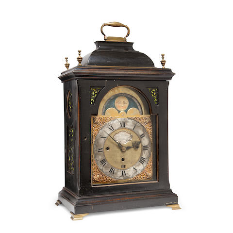 "A Continental ebonized musical bracket clock with moon phase Signed ""Josep Windmidl, London"", mid 18th century"