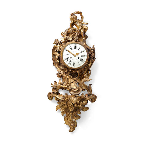 A fine Louis XV ormolu cartel d'applique Second quarter 18th century, the movement later