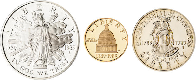 1989 Congressional Three Coin Proof Set