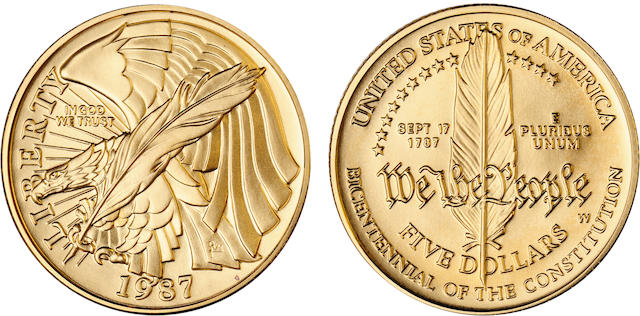 1987-W U.S. Constitution $5 Proof