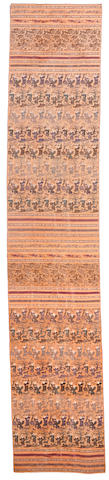 A peach ground brocade silk panel 19th century