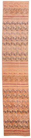 A peach ground brocade silk panel 19th century