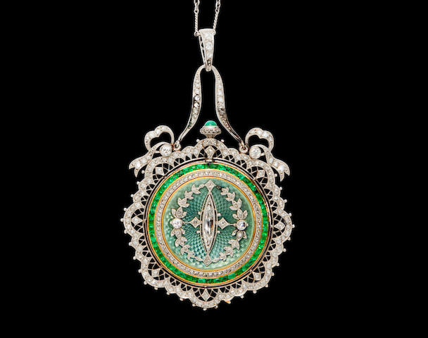 Patek Philippe. A rare and very fine enameled 18K gold pendant watch set with emeralds and diamonds and a chainCase No.26xx76, Movement No.160591, circa 1912