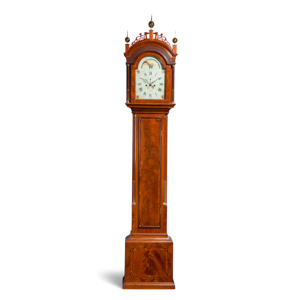 An important Federal inlaid mahogany longcase clock the movement by Ephraim Willard, Roxbury,  with dial painted by John Ritto Penniman1790's