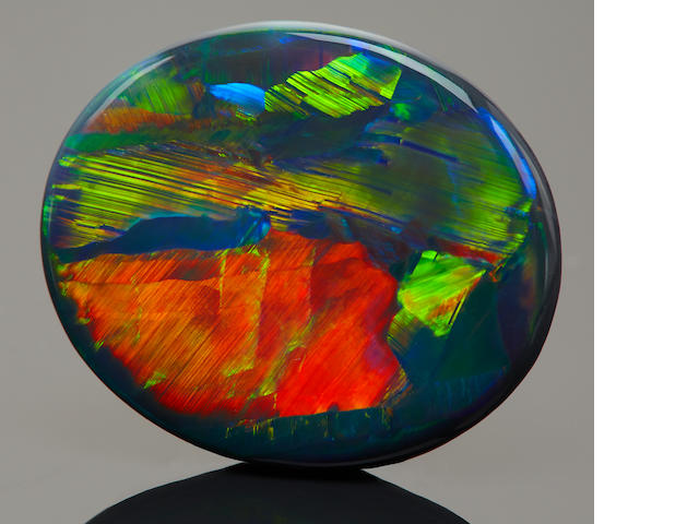 "Exceptional Black Picture Opal--""The Road to Lightning Ridge"""