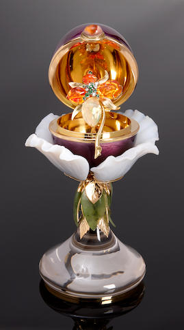 "Enamel and Gemstone Egg Creation with Mexican Fire Opal Brooch in the Interior--""The Mexican Orchid"""