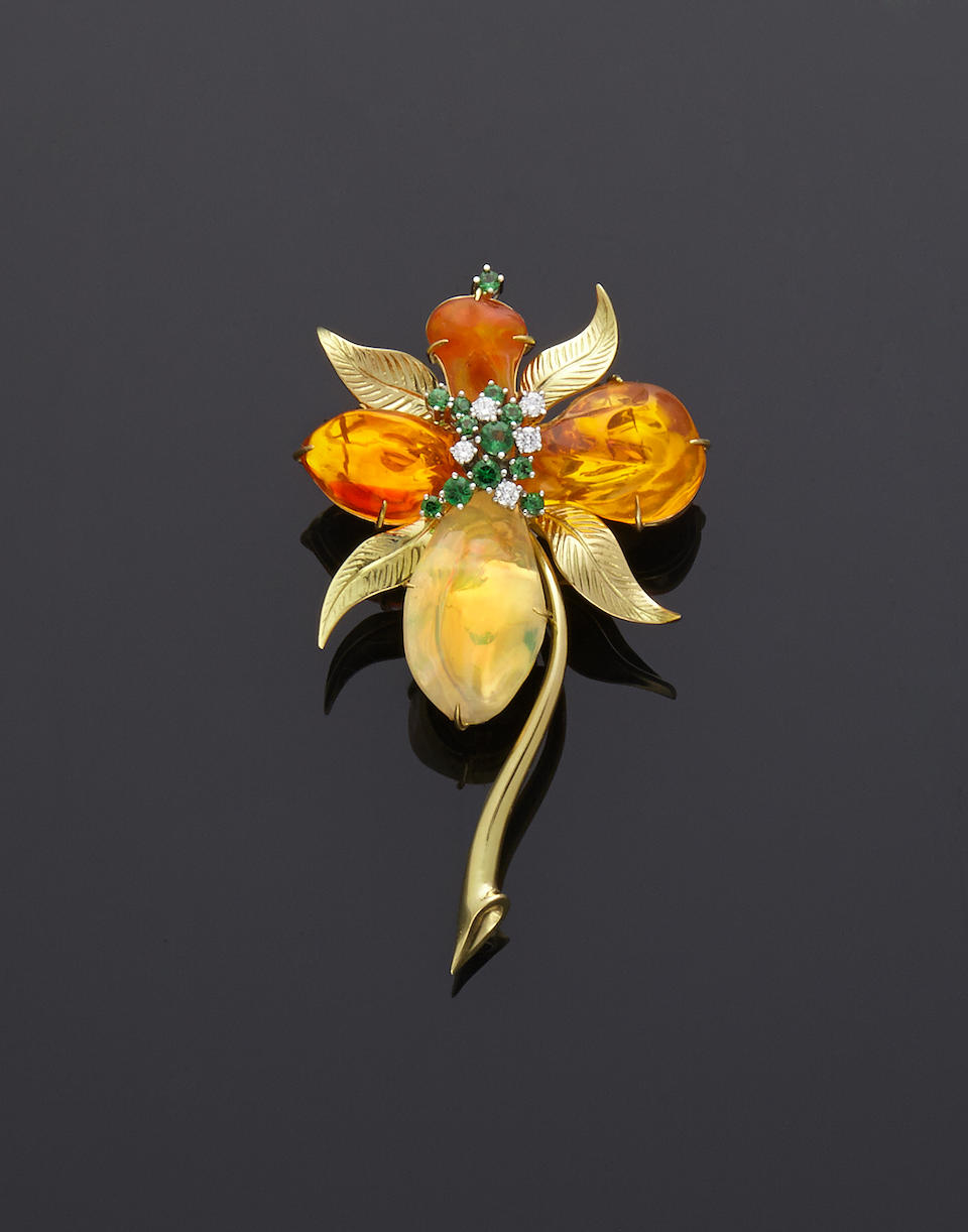 """Enamel and Gemstone Egg Creation with Mexican Fire Opal Brooch in the Interior--""""The Mexican Orchid"""""""