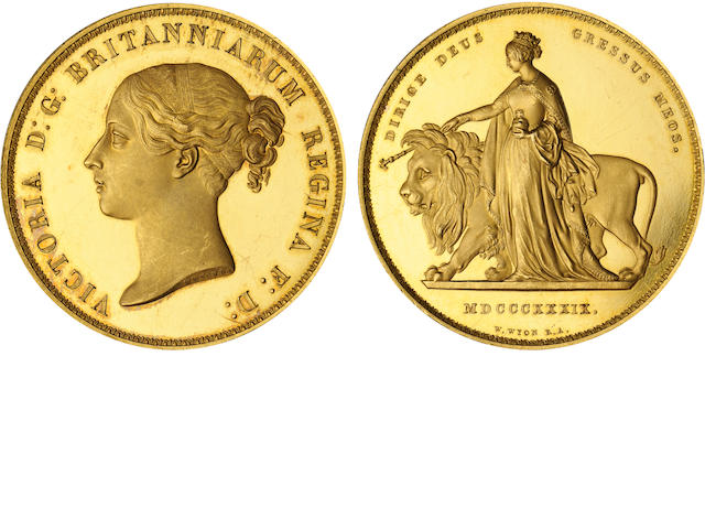 Great Britain, Victoria, Una and the Lion Gold Five Pounds, 1839, Genuine, Filed Rims PCGS