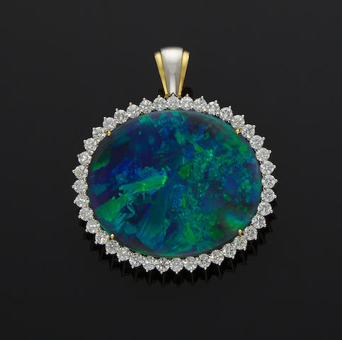"Stunning Black Opal and Diamond Pendant--""The Peacock Opal"""