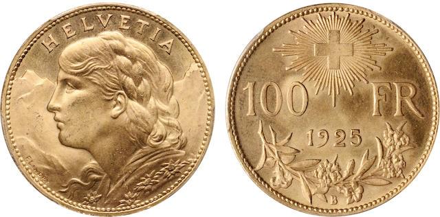 Switzerland 1925-B Gold 100 Francs MS65 PCGS