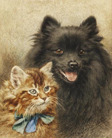 Eugenie M. Valter, (British, late 19th century) Friends always 8 3/4 x 7in. (22.5 x 18cm.)