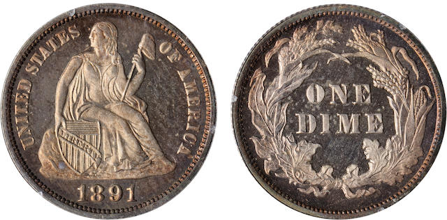 1891 10C Proof 66 PCGS
